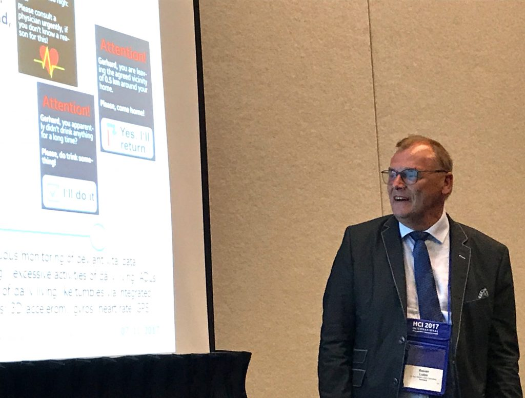 Dr. Rainer Lutze's presentation on Formal Dialogue Control for Smartwatches at the HCI International Conference, Vancouver, B.C., Canada, on July 12, 2017