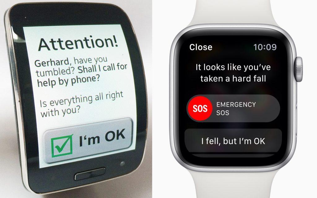 Sturzerkennung mit unserer App für die Samsung Gear S (2015) und Apple Watch Series 4 (2018)