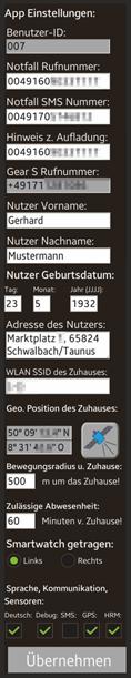 Der Nutzereditor in der Samsung Gear S Hausnotruf App