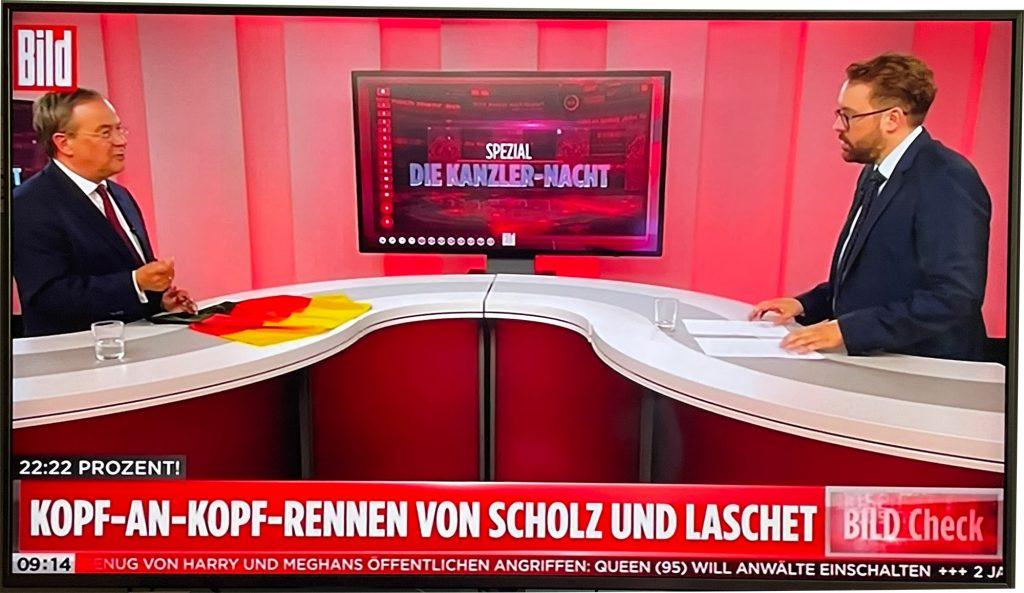 """Mit dem Special """"Die Kanzler-Nacht"""" startete Bild TV am 22.8.2021 sein Abendprogramm"""