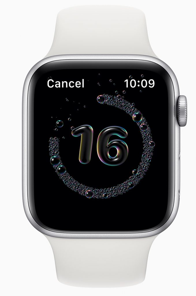 Apple unterstützt zukünftig ein gründliches Händewaschen mit seiner Apple Watch als Präsentation gegen COVID-19