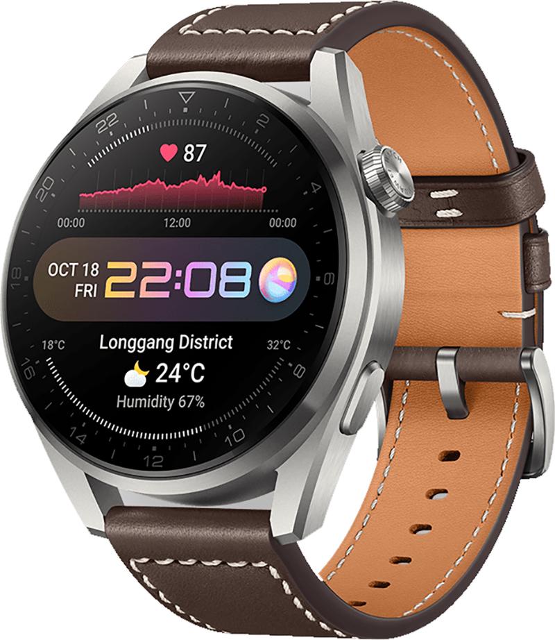 Huawei Watch 3 Pro - 49mm Titangehäuse in Naturfarbe mit braunem Lederarmband