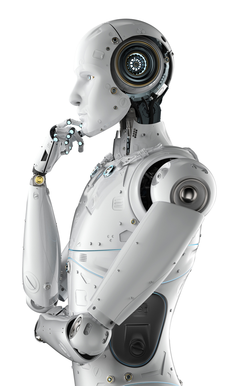 Humanoid robot thinking on the future of AI and his role in the society